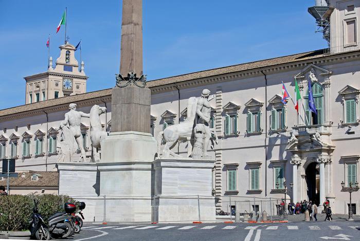 Terminati i lavori di restauro della Fontana dei Dioscuri in piazza del Quirinale, Roma, 11 marzo 2016. ANSA/ALESSANDRO DI MEO