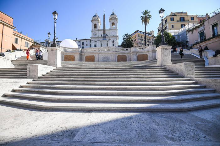 La scalinata di Trinità dei Monti restaurata, Roma